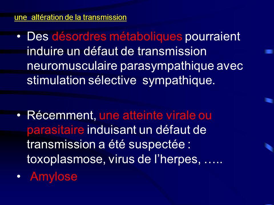 une altération de la transmission •Des désordres métaboliques pourraient induire un défaut de transmission neuromusculaire parasympathique avec stimulation sélective sympathique.
