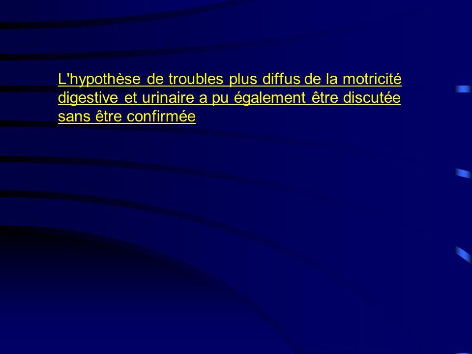 L hypothèse de troubles plus diffus de la motricité digestive et urinaire a pu également être discutée sans être confirmée