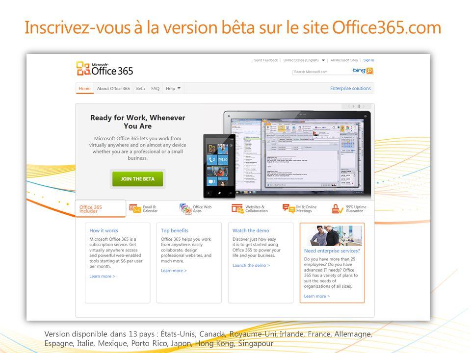 Inscrivez-vous à la version bêta sur le site Office365.com