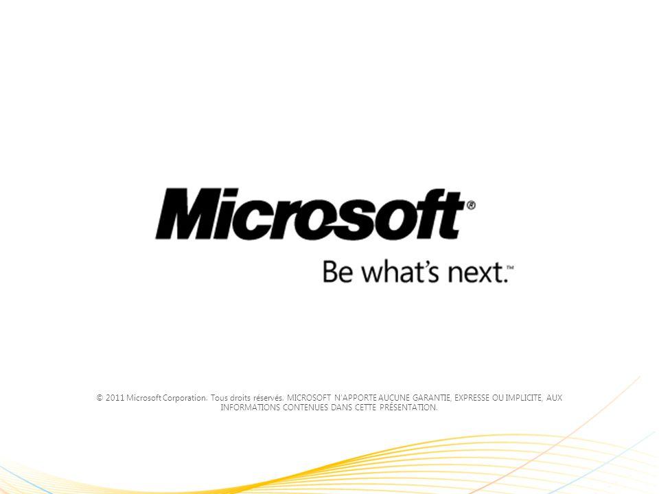 © 2011 Microsoft Corporation. Tous droits réservés. MICROSOFT N'APPORTE AUCUNE GARANTIE, EXPRESSE OU IMPLICITE, AUX INFORMATIONS CONTENUES DANS CETTE