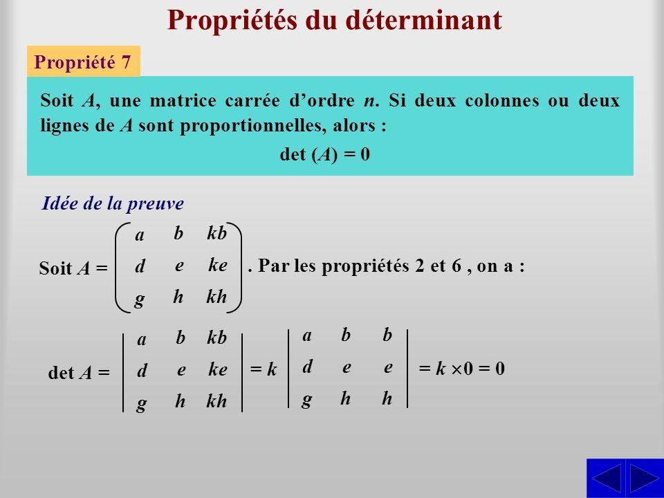 Propriétés du déterminant Propriété 7 Soit A, une matrice carrée d'ordre n. Si deux colonnes ou deux lignes de A sont proportionnelles, alors : adgadg