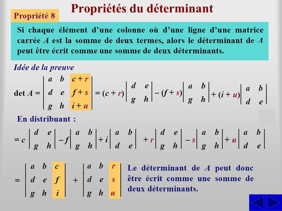 Propriétés du déterminant Propriété 8 Si chaque élément d'une colonne où d'une ligne d'une matrice carrée A est la somme de deux termes, alors le déte