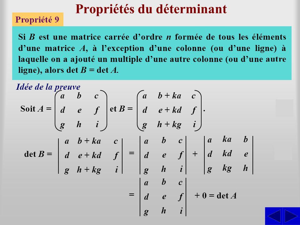 Propriétés du déterminant Propriété 9 Si B est une matrice carrée d'ordre n formée de tous les éléments d'une matrice A, à l'exception d'une colonne (