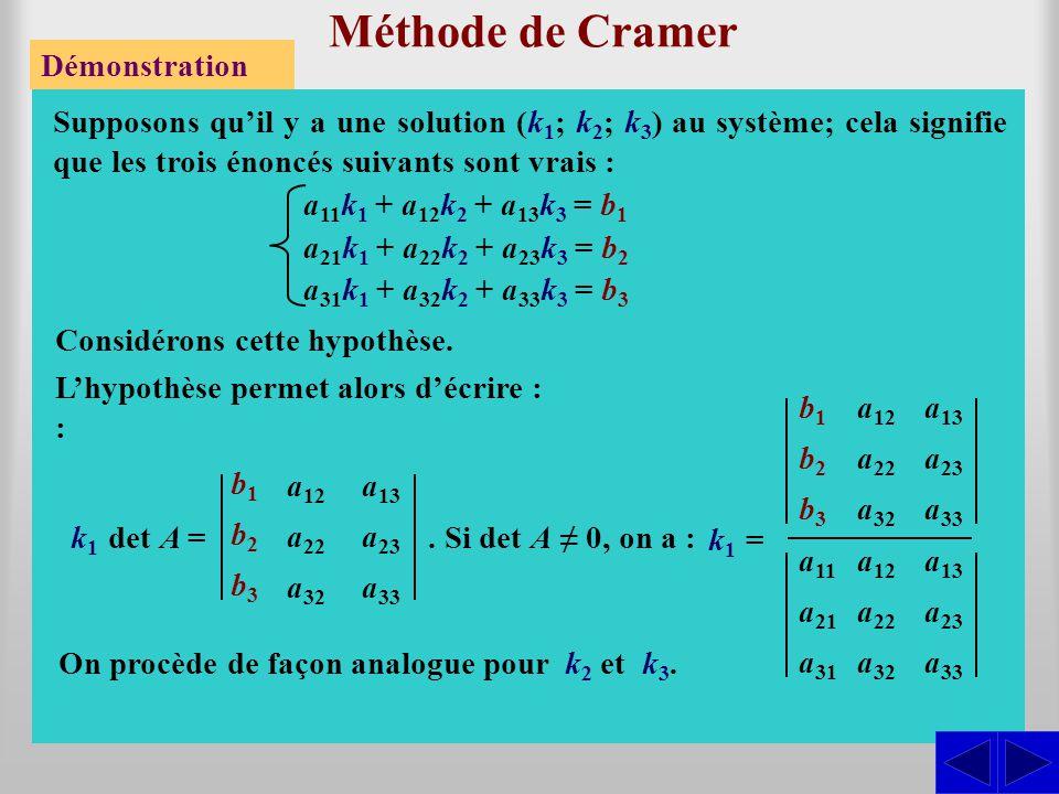Méthode de Cramer Démonstration Supposons qu'il y a une solution (k 1 ; k 2 ; k 3 ) au système; cela signifie que les trois énoncés suivants sont vrai