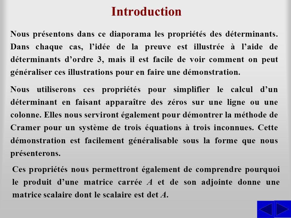 Introduction Nous présentons dans ce diaporama les propriétés des déterminants. Dans chaque cas, l'idée de la preuve est illustrée à l'aide de détermi