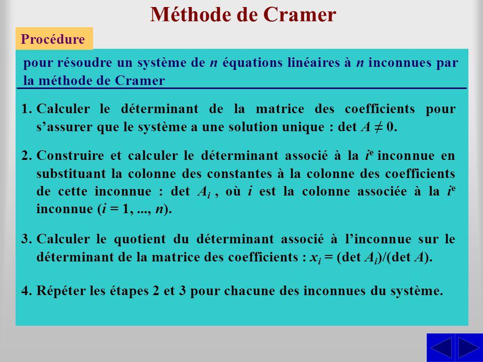 Méthode de Cramer Procédure pour résoudre un système de n équations linéaires à n inconnues par la méthode de Cramer 1.Calculer le déterminant de la m