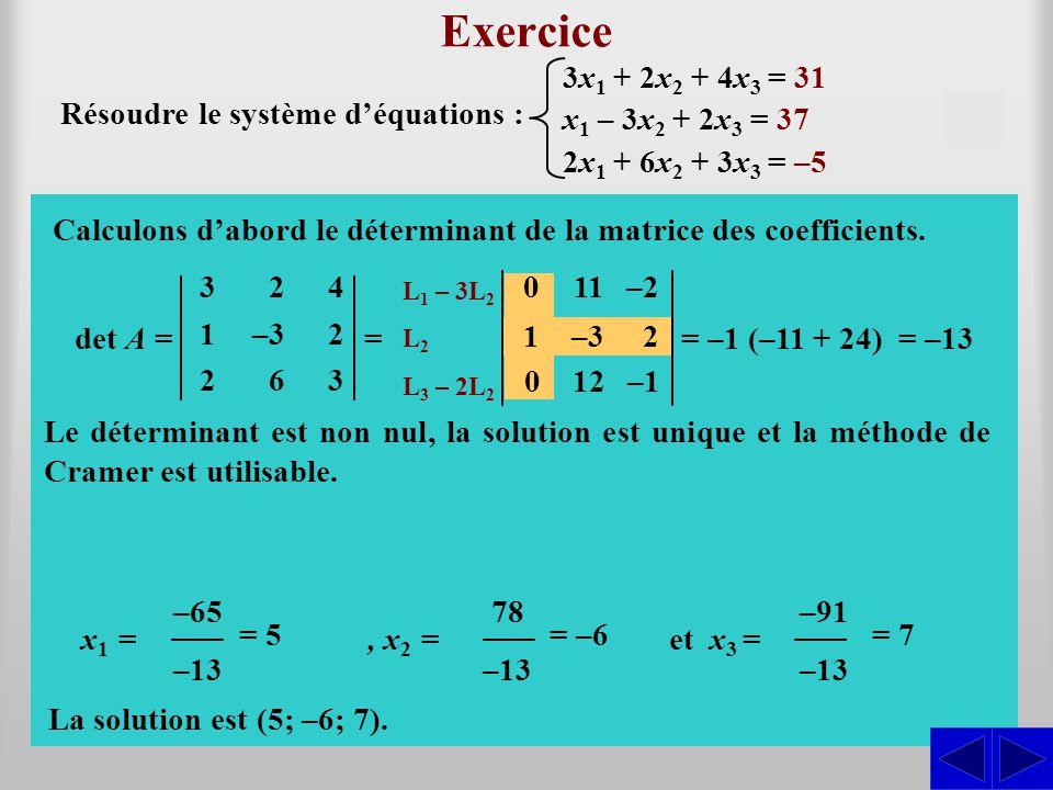 Exercice det A = Résoudre le système d'équations : 3 1 2 2 –3 6 4 2 3 = L1 L1 – 3L 2 L2L2 L3 L3 – 2L 2 011–2 S S S Calculons d'abord le déterminant de