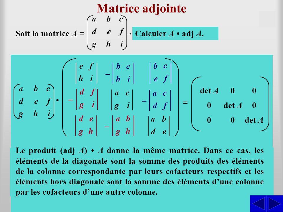 d g f i d g e h a g b h Matrice adjointe Soit la matrice A = S e h f i b h c i a g c i b e c f a d c f a d b e – – – – Déterminer cof A.A. S Détermine