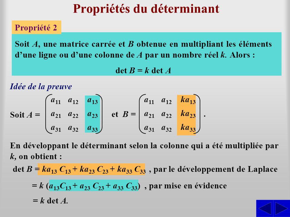 Propriétés du déterminant Propriété 2 a 11 a 21 a 31 a 12 a 22 a 32 Soit A, une matrice carrée et B obtenue en multipliant les éléments d'une ligne ou