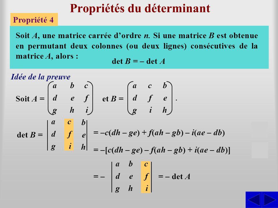 Propriétés du déterminant Propriété 4 Soit A, une matrice carrée d'ordre n. Si une matrice B est obtenue en permutant deux colonnes (ou deux lignes) c
