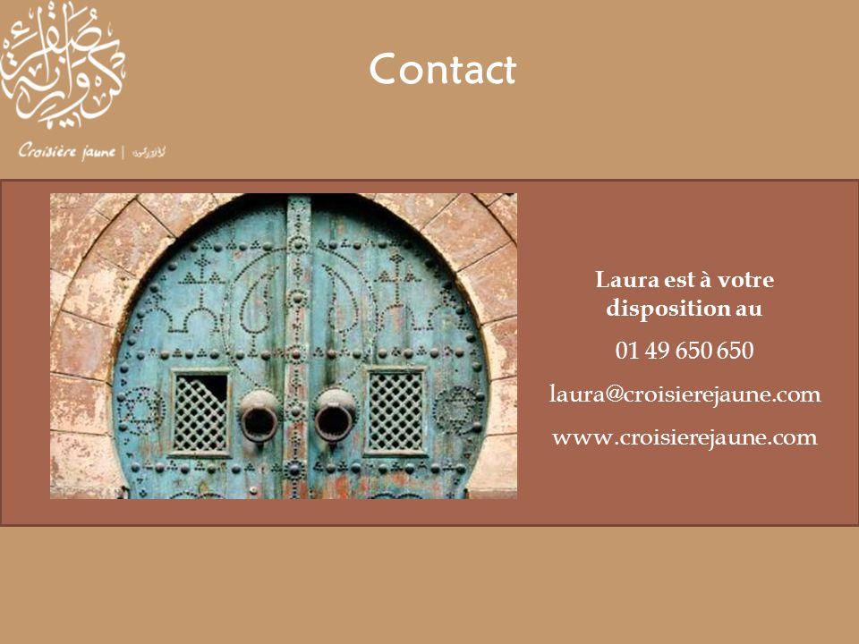 Laura est à votre disposition au 01 49 650 650 laura@croisierejaune.com www.croisierejaune.com Contact