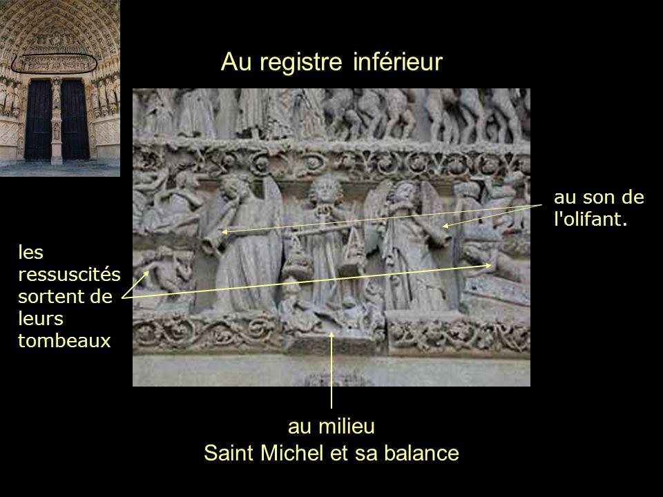 Au registre inférieur au milieu Saint Michel et sa balance les ressuscités sortent de leurs tombeaux au son de l'olifant.
