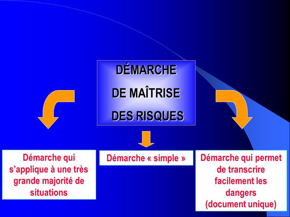 Représentation schématique du processus d'apparition d'un dommage DÉMARCHE DE MAÎTRISE DES RISQUES DES RISQUES Démarche qui s'applique à une très gran