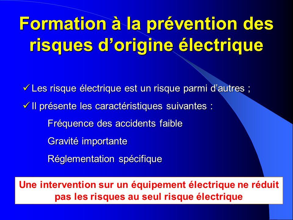 Formation à la prévention des risques d'origine électrique  Les risque électrique est un risque parmi d'autres ;  Il présente les caractéristiques s
