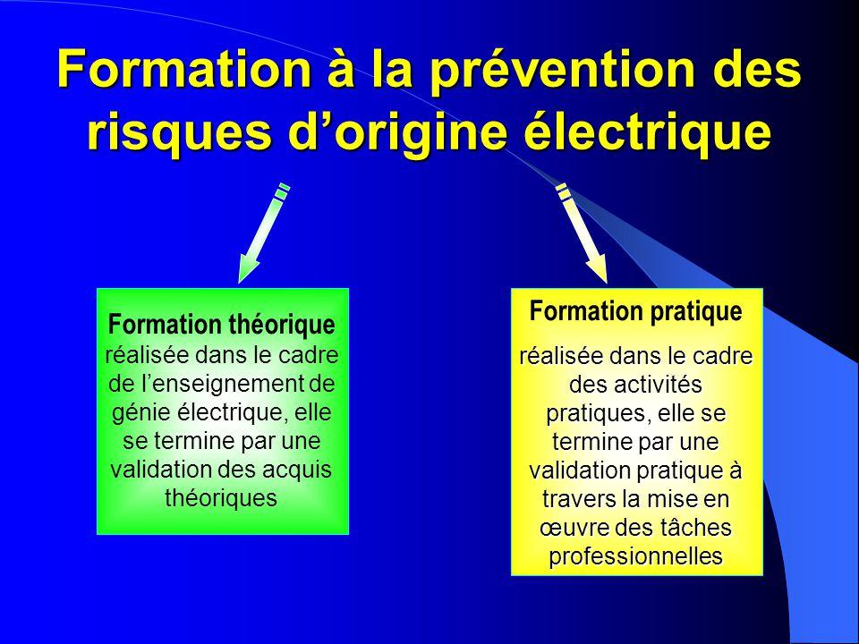 Formation à la prévention des risques d'origine électrique Formation théorique réalisée dans le cadre de l'enseignement de génie électrique, elle se t