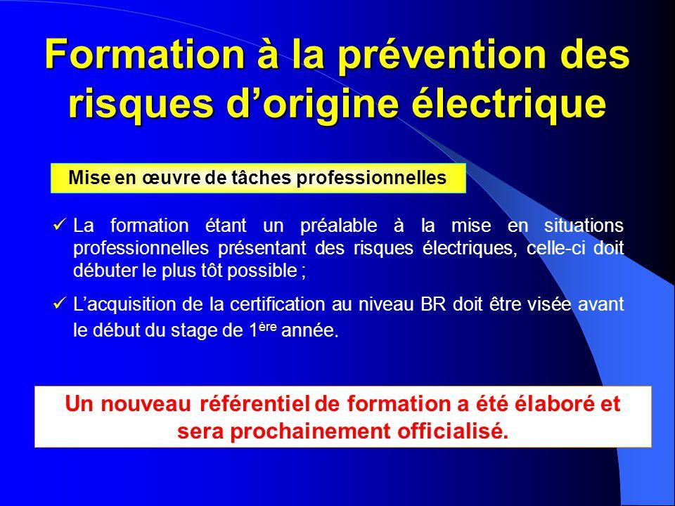 Formation à la prévention des risques d'origine électrique  La formation étant un préalable à la mise en situations professionnelles présentant des r