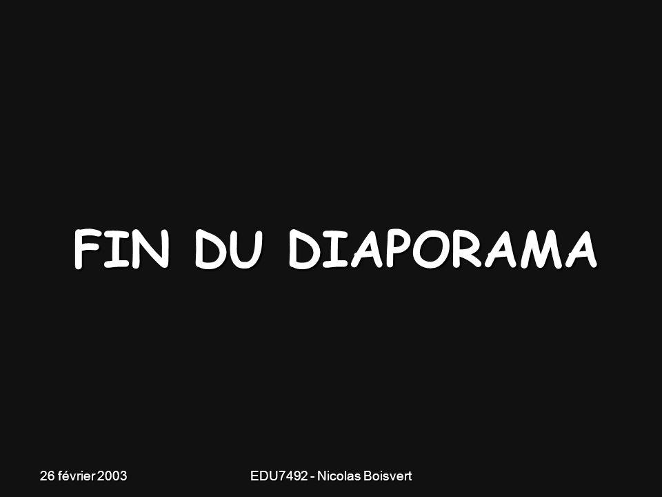 26 février 2003EDU7492 - Nicolas Boisvert M'enfin!!!! C'est déjà fini? Une présentation de : Nicolas Boisvert EDU 7492 Hiver 2003 Chargée de cours: Mo