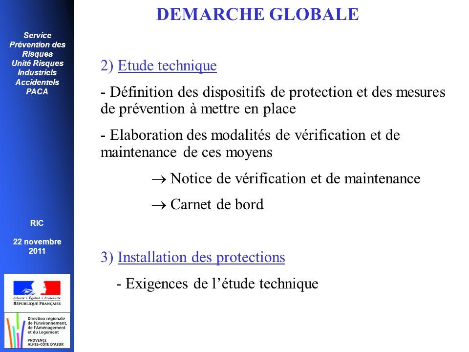 Service Prévention des Risques Unité Risques Industriels Accidentels PACA RIC 22 novembre 2011 DEMARCHE GLOBALE 2) Etude technique - Définition des di