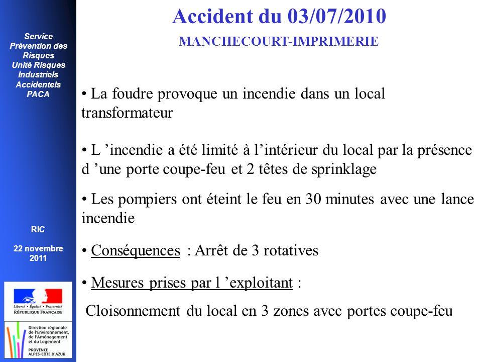 Service Prévention des Risques Unité Risques Industriels Accidentels PACA RIC 22 novembre 2011 Accident du 03/07/2010 MANCHECOURT-IMPRIMERIE • La foud