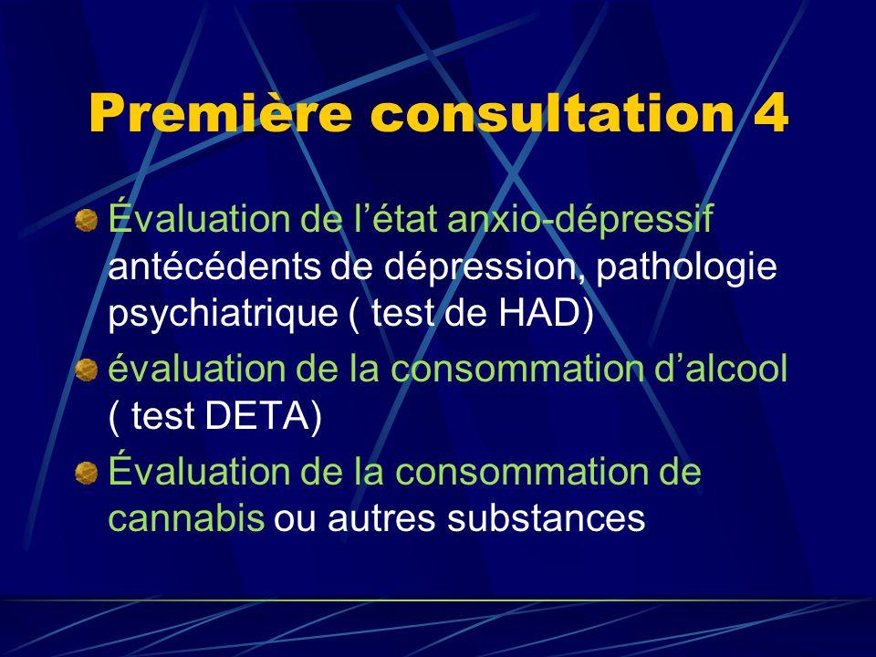 Première consultation 4 Évaluation de l'état anxio-dépressif antécédents de dépression, pathologie psychiatrique ( test de HAD) évaluation de la consommation d'alcool ( test DETA) Évaluation de la consommation de cannabis ou autres substances