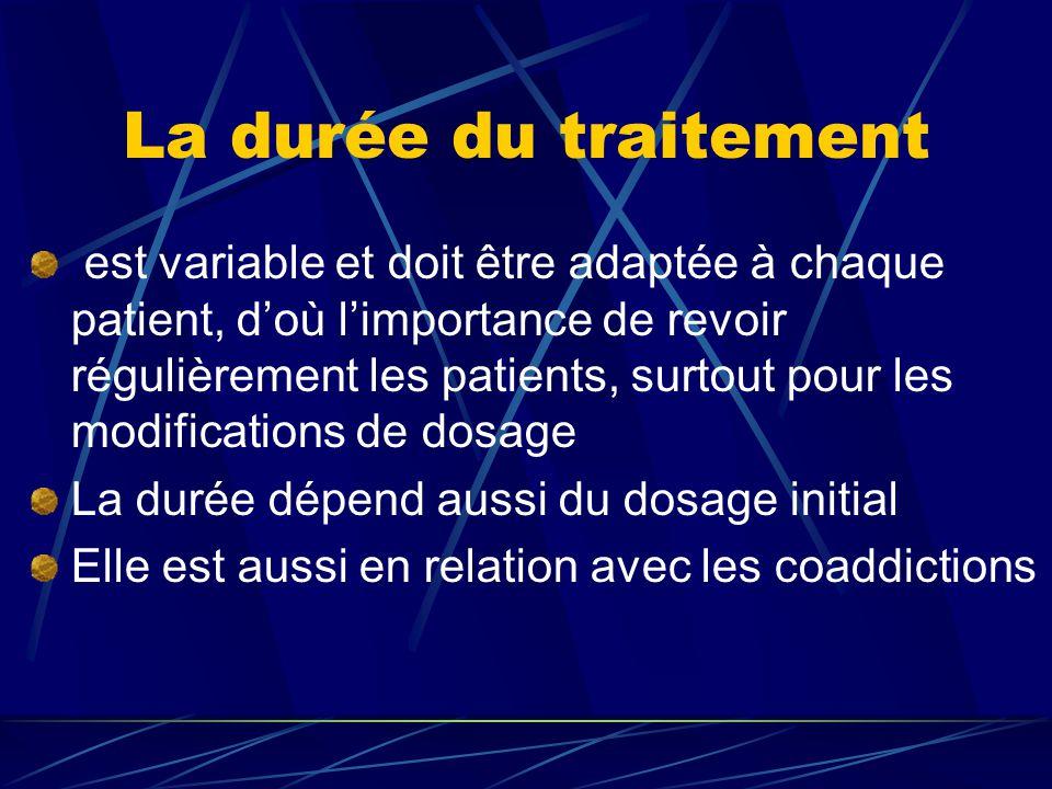 La durée du traitement est variable et doit être adaptée à chaque patient, d'où l'importance de revoir régulièrement les patients, surtout pour les modifications de dosage La durée dépend aussi du dosage initial Elle est aussi en relation avec les coaddictions