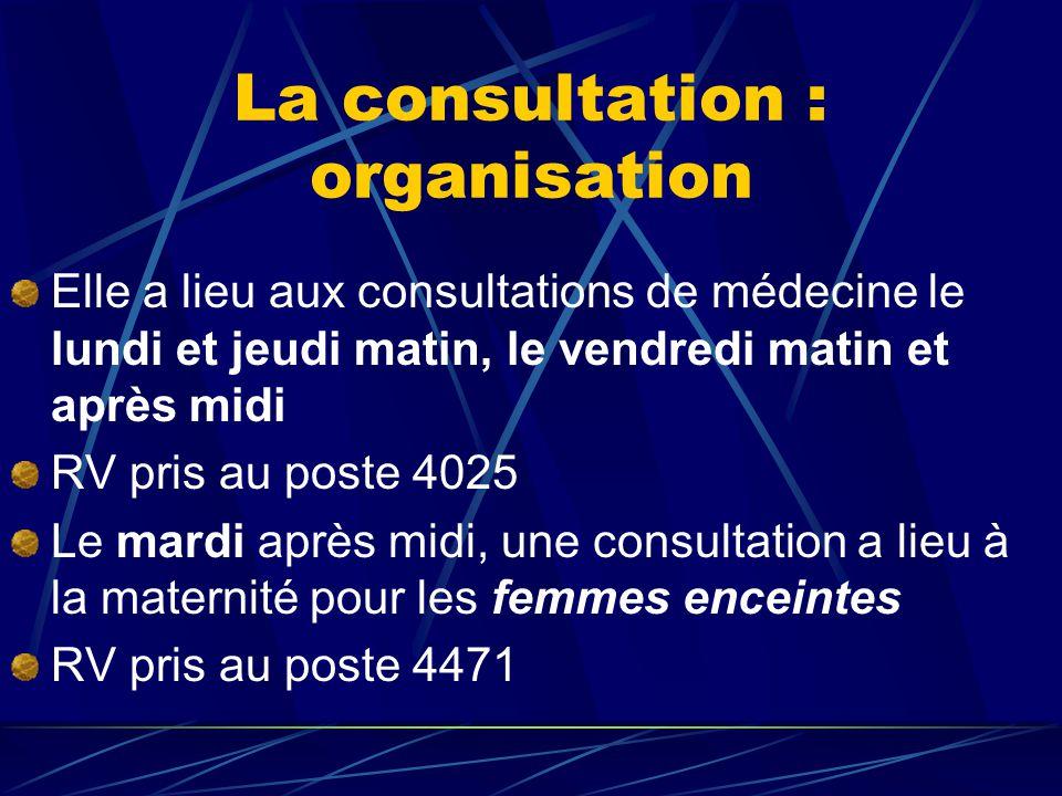 La consultation : organisation Elle a lieu aux consultations de médecine le lundi et jeudi matin, le vendredi matin et après midi RV pris au poste 4025 Le mardi après midi, une consultation a lieu à la maternité pour les femmes enceintes RV pris au poste 4471