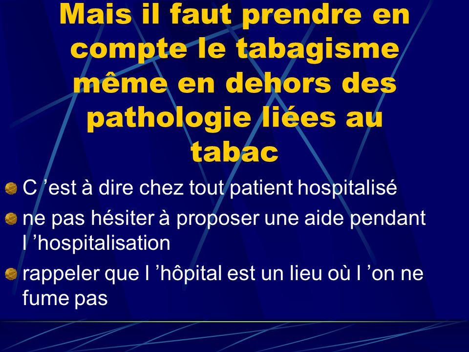 Mais il faut prendre en compte le tabagisme même en dehors des pathologie liées au tabac C 'est à dire chez tout patient hospitalisé ne pas hésiter à proposer une aide pendant l 'hospitalisation rappeler que l 'hôpital est un lieu où l 'on ne fume pas