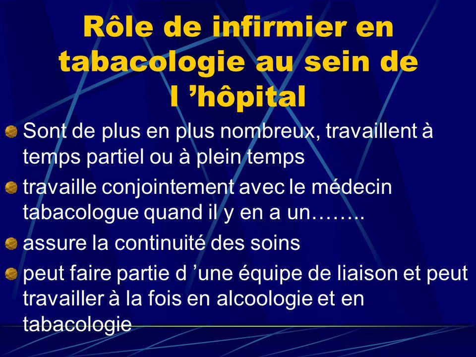 Rôle de infirmier en tabacologie au sein de l 'hôpital Sont de plus en plus nombreux, travaillent à temps partiel ou à plein temps travaille conjointement avec le médecin tabacologue quand il y en a un……..