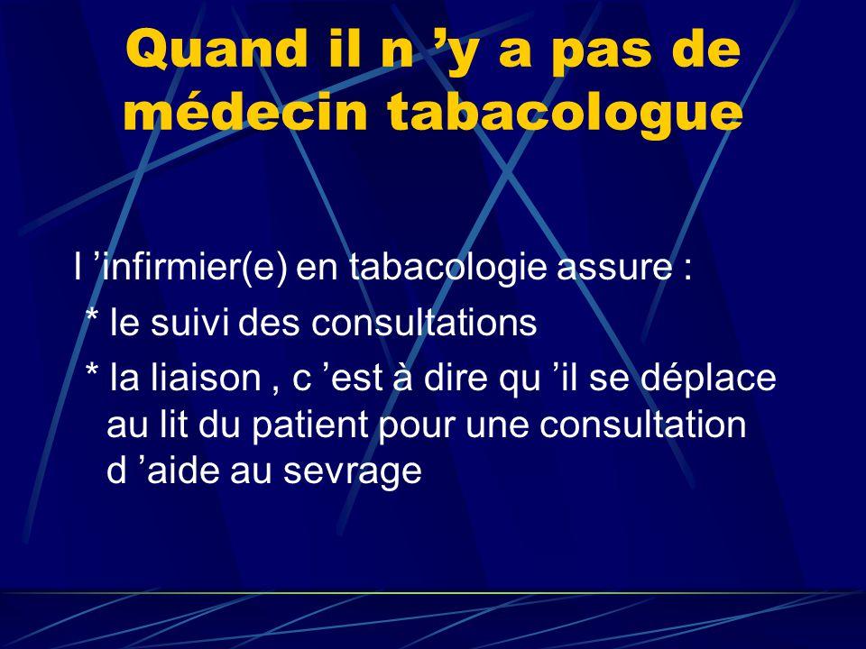Quand il n 'y a pas de médecin tabacologue l 'infirmier(e) en tabacologie assure : * le suivi des consultations * la liaison, c 'est à dire qu 'il se déplace au lit du patient pour une consultation d 'aide au sevrage