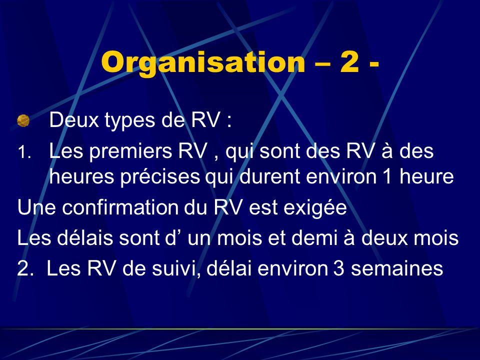 Organisation – 2 - Deux types de RV : 1.