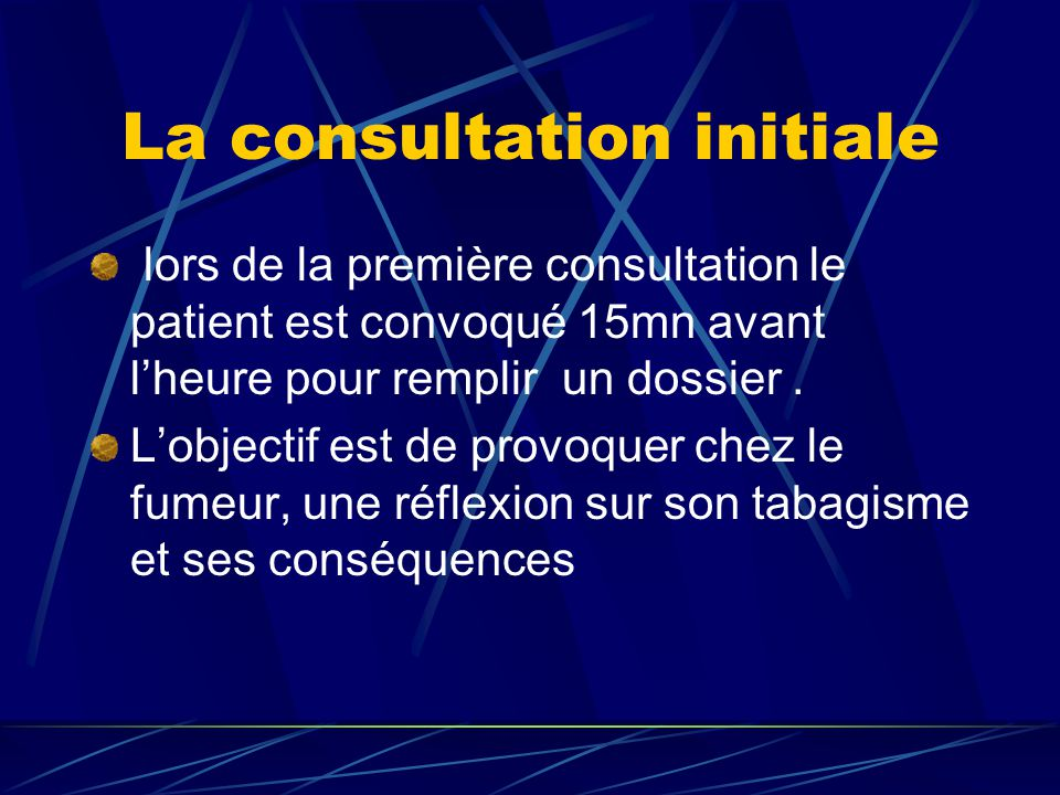 La consultation initiale lors de la première consultation le patient est convoqué 15mn avant l'heure pour remplir un dossier.