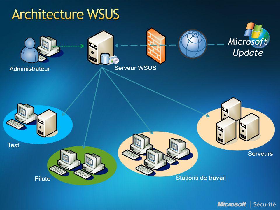 Administrateur MicrosoftUpdate Serveur WSUS Test Pilote Stations de travail Serveurs