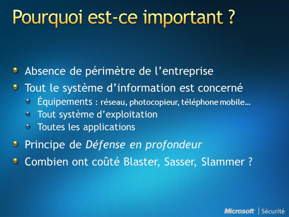 Absence de périmètre de l'entreprise Tout le système d'information est concerné Équipements : réseau, photocopieur, téléphone mobile… Tout système d'e