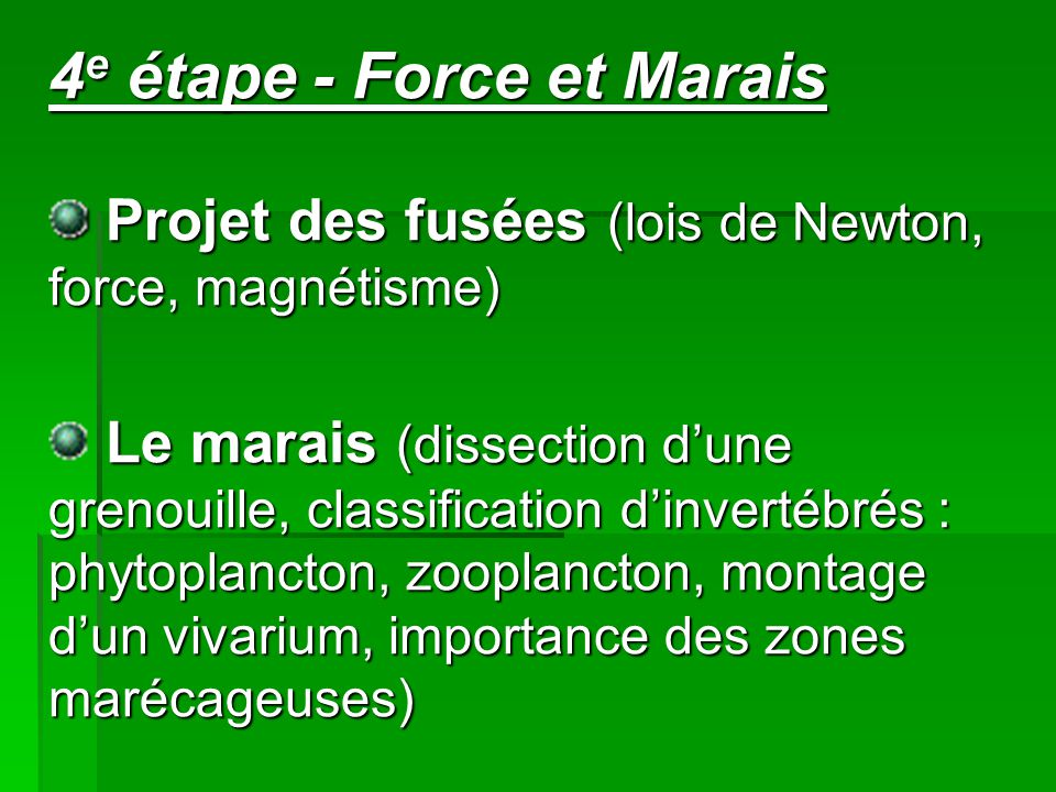 4 e étape - Force et Marais Projet des fusées (lois de Newton, force, magnétisme) Projet des fusées (lois de Newton, force, magnétisme) Le marais (dissection d'une grenouille, classification d'invertébrés : phytoplancton, zooplancton, montage d'un vivarium, importance des zones marécageuses)