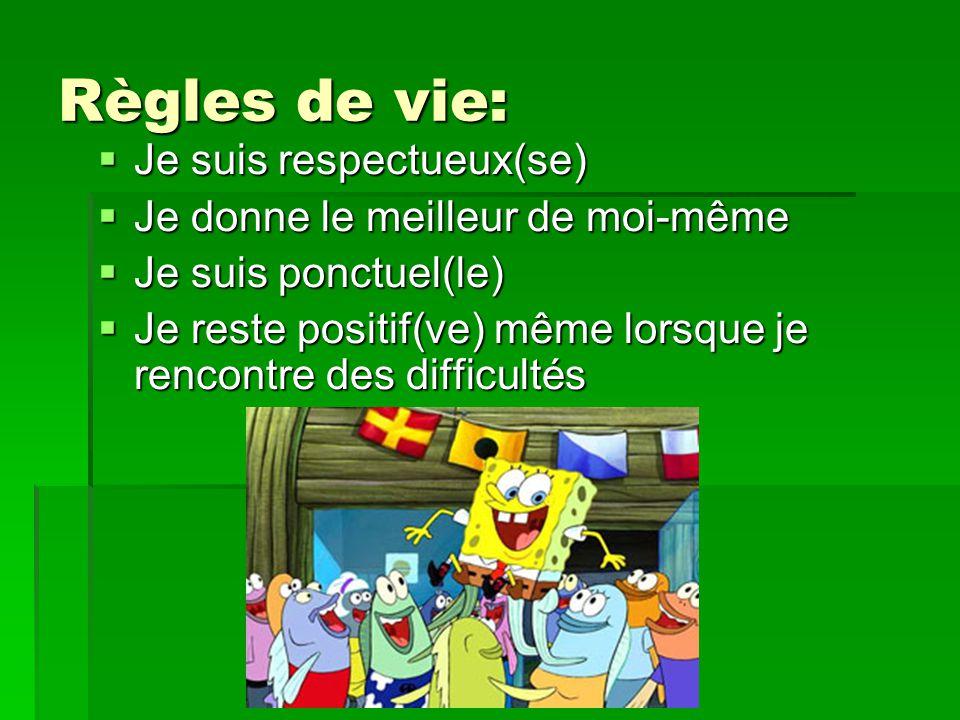 Règles de vie:  Je suis respectueux(se)  Je donne le meilleur de moi-même  Je suis ponctuel(le)  Je reste positif(ve) même lorsque je rencontre de