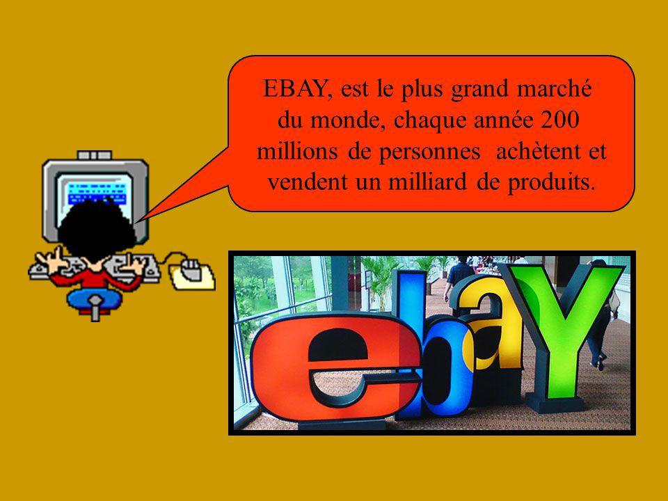 EBAY, est le plus grand marché du monde, chaque année 200 millions de personnes achètent et vendent un milliard de produits.