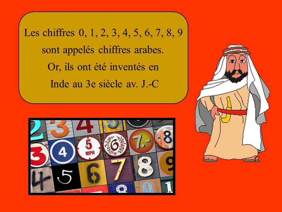 Les chiffres 0, 1, 2, 3, 4, 5, 6, 7, 8, 9 sont appelés chiffres arabes.