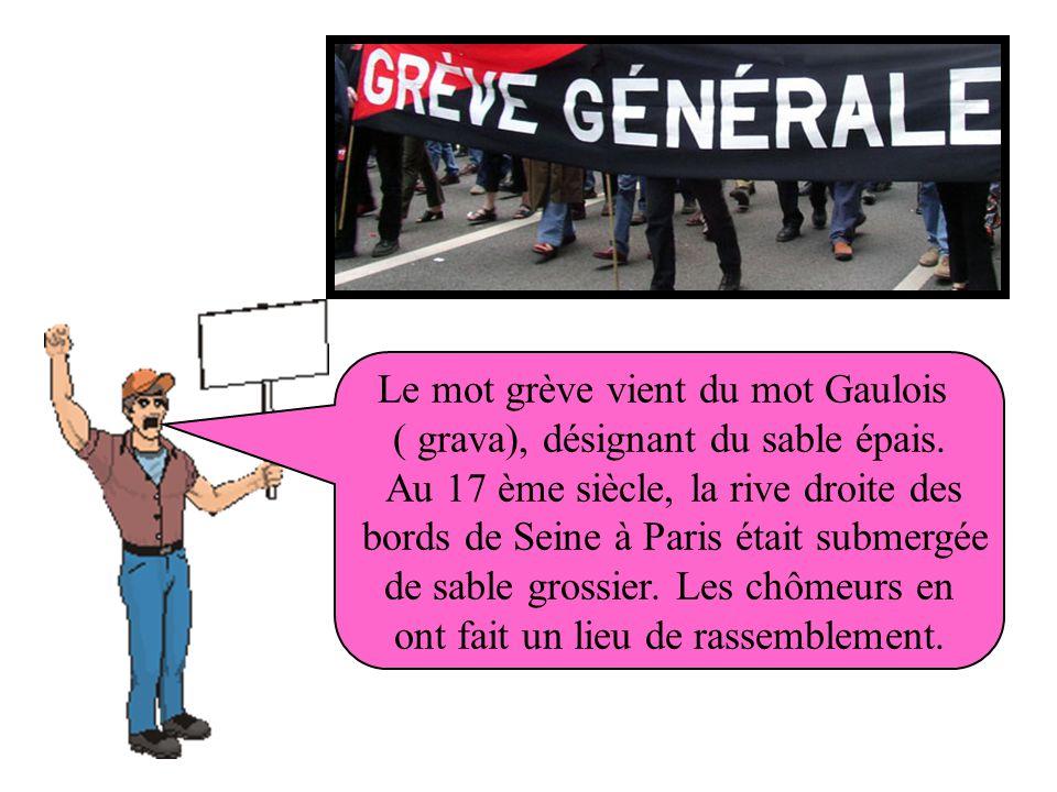 Le mot grève vient du mot Gaulois ( grava), désignant du sable épais.