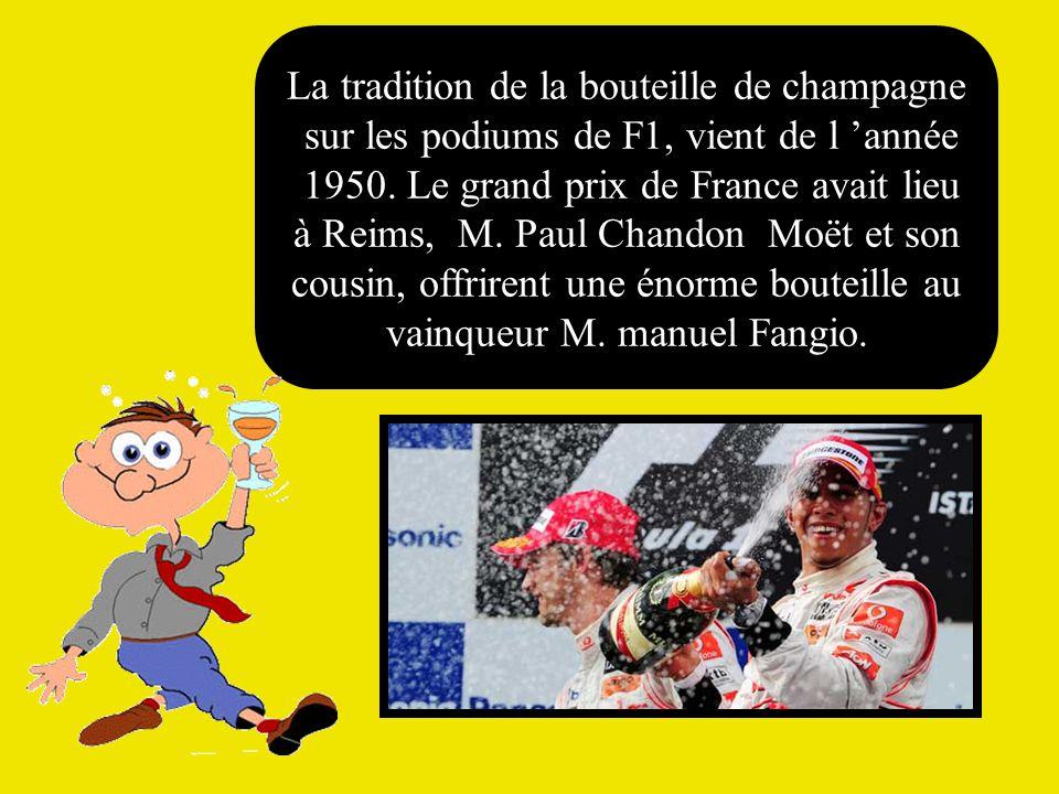 La tradition de la bouteille de champagne sur les podiums de F1, vient de l 'année 1950.