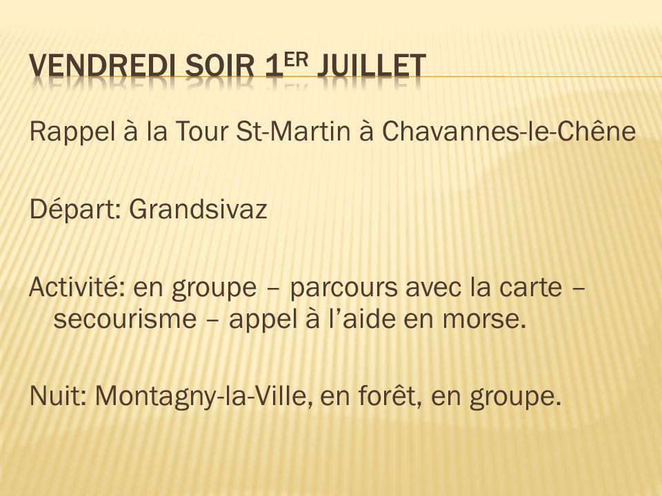 Rappel à la Tour St-Martin à Chavannes-le-Chêne Départ: Grandsivaz Activité: en groupe – parcours avec la carte – secourisme – appel à l'aide en morse