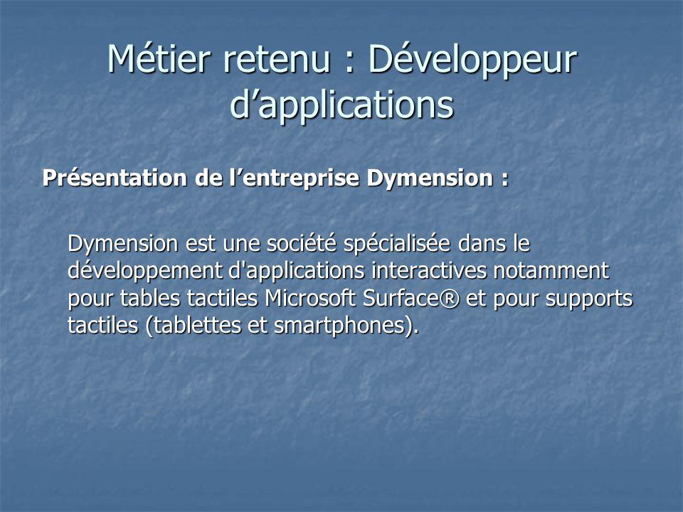 Métier retenu : Développeur d'applications Présentation de l'entreprise Dymension : Dymension est une société spécialisée dans le développement d applications interactives notamment pour tables tactiles Microsoft Surface® et pour supports tactiles (tablettes et smartphones).