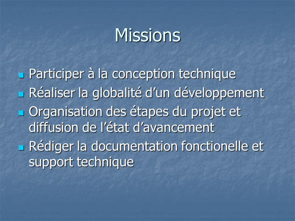 Missions  Participer à la conception technique  Réaliser la globalité d'un développement  Organisation des étapes du projet et diffusion de l'état d'avancement  Rédiger la documentation fonctionelle et support technique