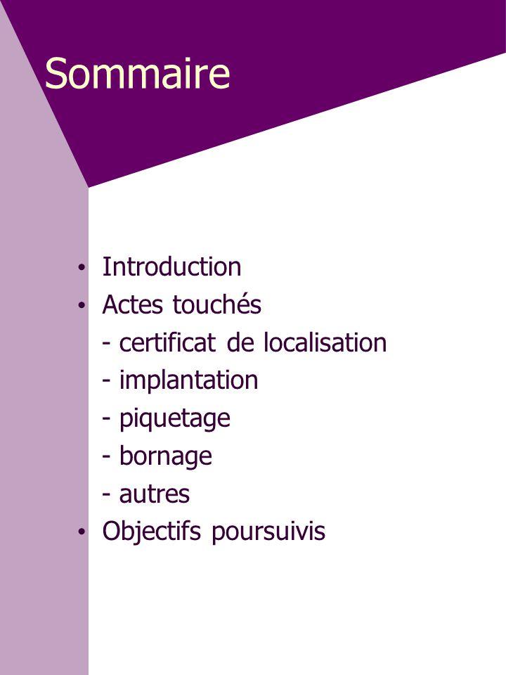 Sommaire • Introduction • Actes touchés - certificat de localisation - implantation - piquetage - bornage - autres • Objectifs poursuivis