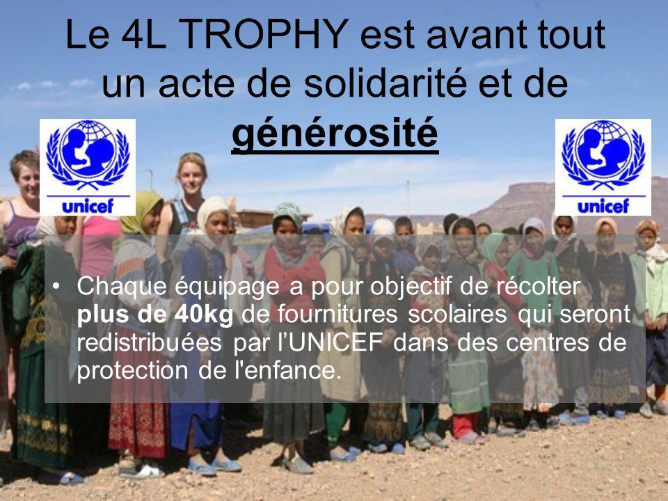 Le 4L TROPHY est avant tout un acte de solidarité et de générosité •Chaque équipage a pour objectif de récolter plus de 40kg de fournitures scolaires qui seront redistribuées par l'UNICEF dans des centres de protection de l enfance.