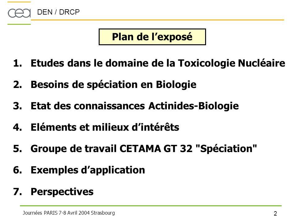 DEN / DRCP 2 Journées PARIS 7-8 Avril 2004 Strasbourg Plan de l'exposé 1. Etudes dans le domaine de la Toxicologie Nucléaire 2. Besoins de spéciation