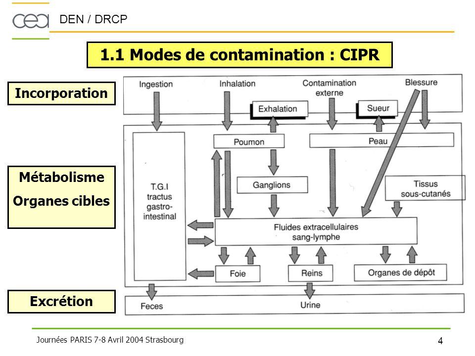 DEN / DRCP 4 Journées PARIS 7-8 Avril 2004 Strasbourg 1.1 Modes de contamination : CIPR Incorporation Métabolisme Organes cibles Excrétion