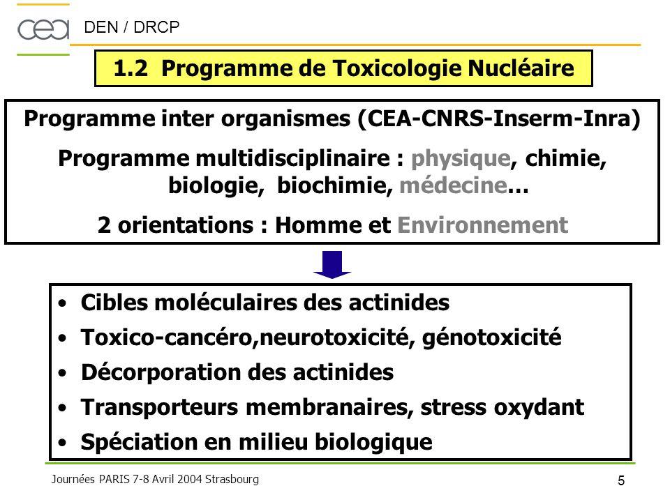 DEN / DRCP 5 Journées PARIS 7-8 Avril 2004 Strasbourg 1.2 Programme de Toxicologie Nucléaire Programme inter organismes (CEA-CNRS-Inserm-Inra) Program