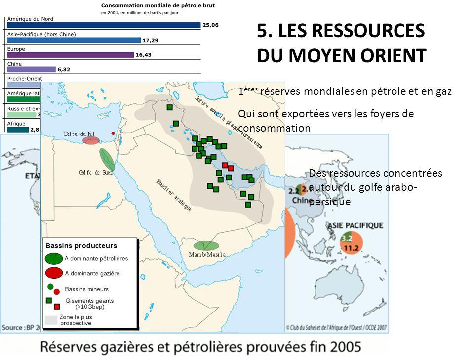 5. LES RESSOURCES DU MOYEN ORIENT 1 ères réserves mondiales en pétrole et en gaz Qui sont exportées vers les foyers de consommation Des ressources con