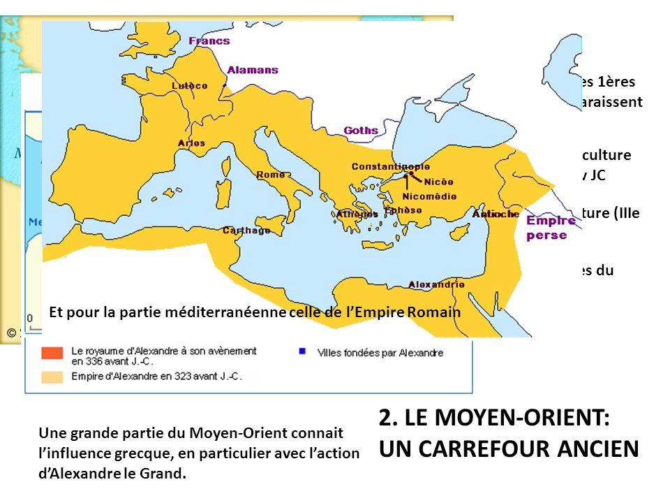 2. LE MOYEN-ORIENT: UN CARREFOUR ANCIEN Dans l'Antiquité, les 1ères civilisations y apparaissent Invention de l'agriculture (VIIIe millénaire av JC In