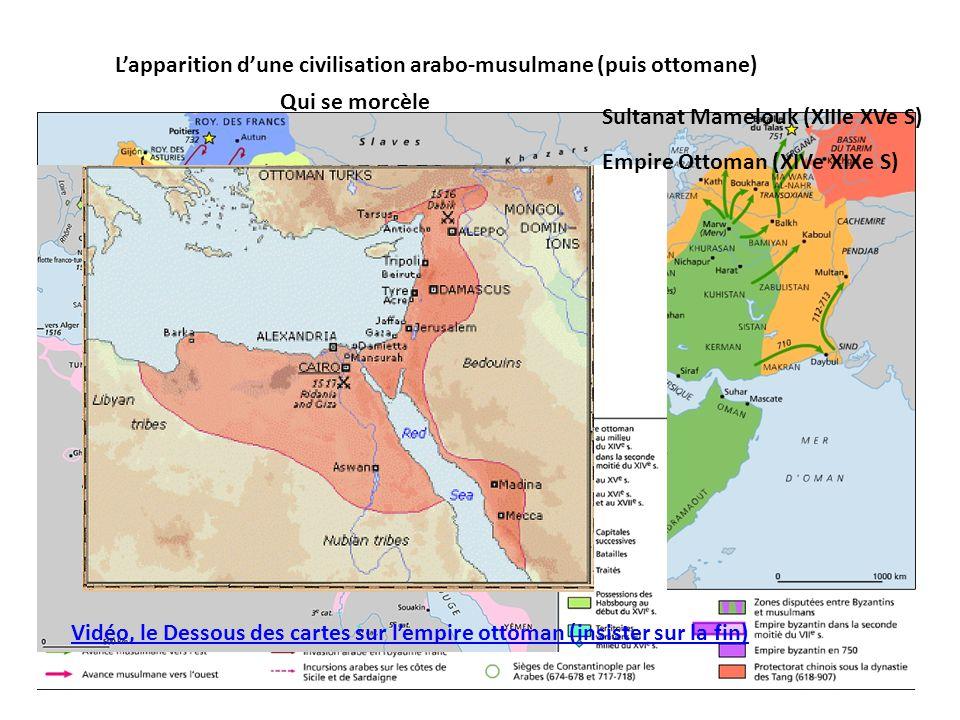 L'apparition d'une civilisation arabo-musulmane (puis ottomane) Qui se morcèle Sultanat Mamelouk (XIIIe XVe S) Empire Ottoman (XIVe XIXe S) Vidéo, le